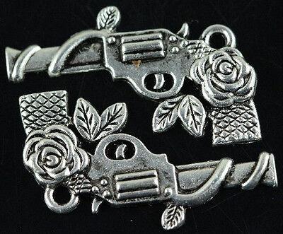 Lots 15Pcs Tiabetan Silver Rose pistol Charms 31mm free ship
