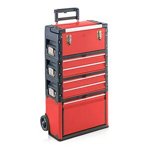 Trolley-Werkzeugtrolley-Metall-Kunststoff-Werkstattwagen-Trolly-6-Faecher-rot