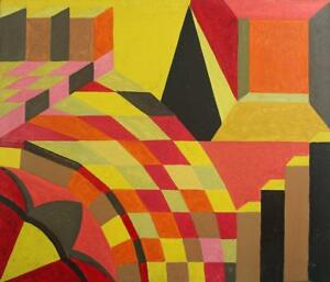 Details About Geometric Shapes Abstract Superb Acrylic Painting On Board C1960 Cubism