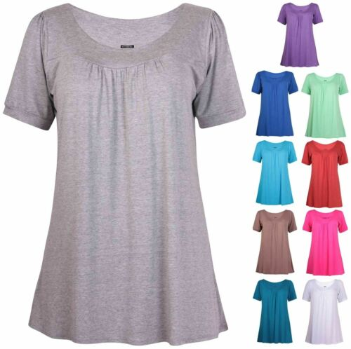 Womens Plus Size Short Sleeve Ladies Shaped Ruched Gather Long Tunic T-S