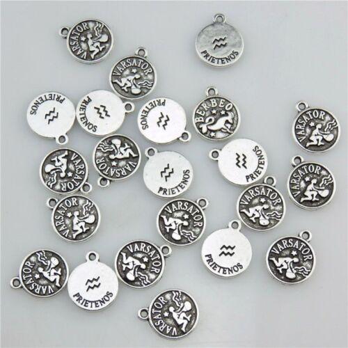 20844 50X Vintage Silver Alloy Horoscope Constellation Zodiac Aquarius Pendant