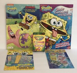 5-SpongeBob-Square-Pants-Jumbo-Coloring-Activity-amp-Sticker-Books-Crayons-Erasers