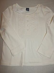 66567961bb2d Baby Gap Girls Ivory Crochet Bib Blouse Top Shirt L S Cotton NWT 3 4 ...