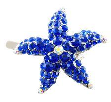 Magnet Hair Clip use Swarovski Crystal Hairpin Starfish Seastar Mermaid Blue 01
