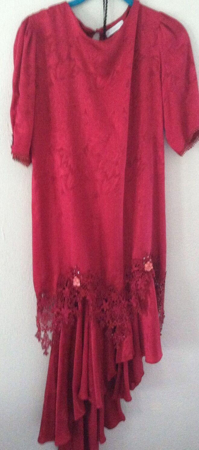 Vintage Carol Peretz 2pc Dress Italian Silk Cranberry Skirt Blouse Size 6 Rare