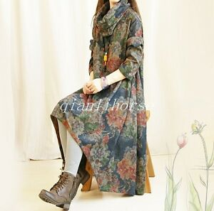 Women-039-s-Chinese-Style-Printing-Floral-Loose-Dress-Long-Sleeve-Wool-Blend-Outwear