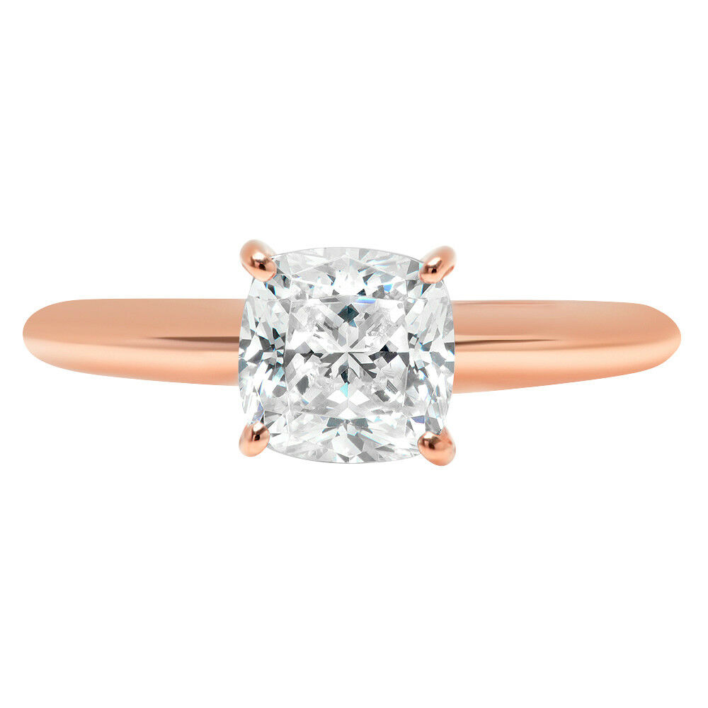 1.50 ct Cushion Cut Classic Solitaire Engagement Promise Ring 14k pink gold
