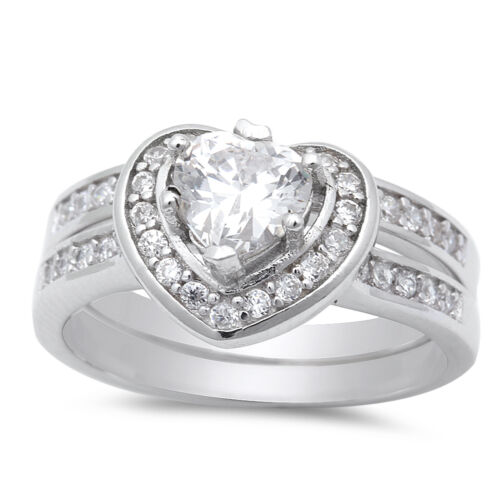 1.50ct Heart Shape CZ Promise Engagement set .925 Sterling Silver Ring Size 5-10