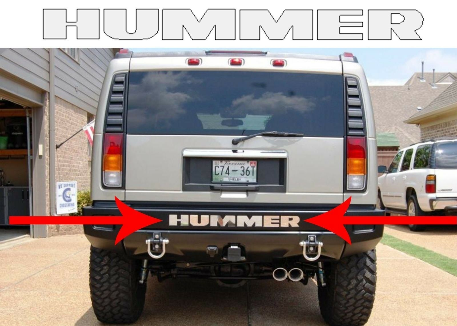 Mirror Chrome Letter Inserts For Hummer H2 Rear Bumper