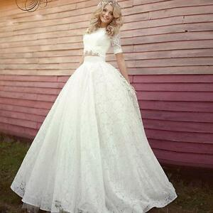 Women Lace Two Piece Half Sleeve Wedding Dress Bridal Ball Gown