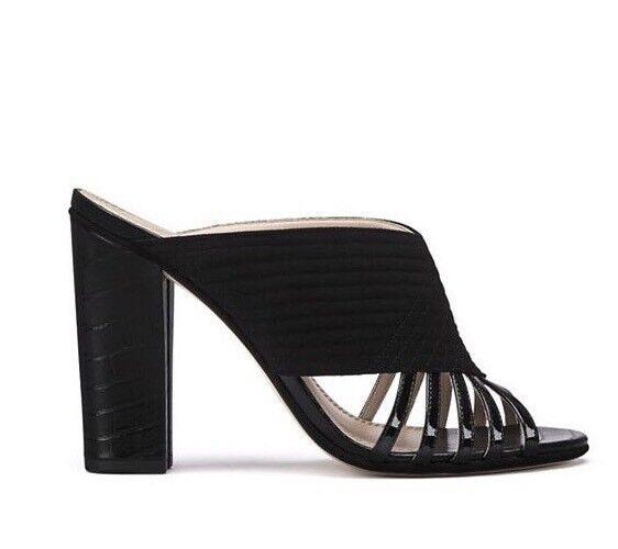 b2b15d9d0 Tory Burch Black Mule Sandals Suede Patent Leather Block Heel Size 6 ...