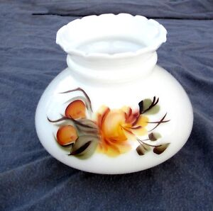Vintage milk glass lamp shade hurricane oil lamp hand painted thick image is loading vintage milk glass lamp shade hurricane oil lamp aloadofball Gallery