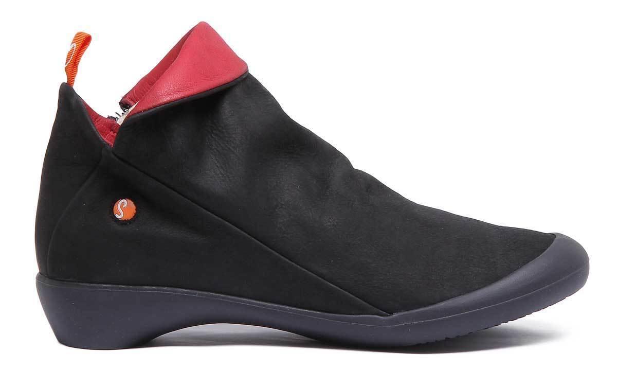 Softinos Farah femme noir rouge en cuir souple Chaussures Chaussures Chaussures UK Taille 3 - 8 f2c78a