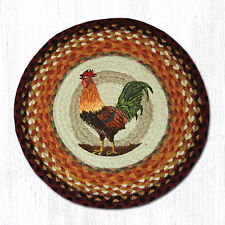 """(2) Morning Rooster Jute Braided Country Round Chair Pads 15"""" CH-391"""