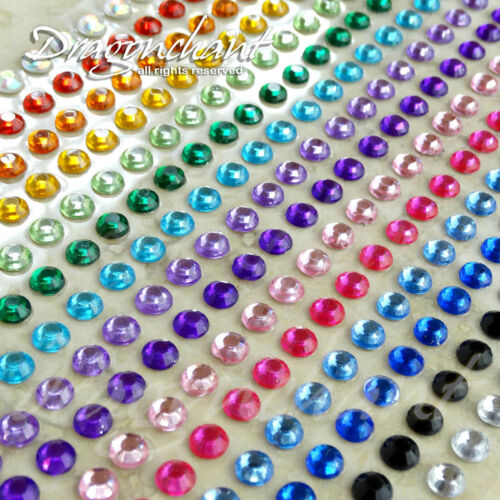 Rhinestone Stickers 300 5mm Mixed Colour Flatback Self Adhesive Stick On