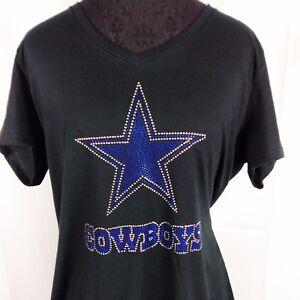 f1557ee21 Women s Dallas Cowboys Rhinestone Football V-neck T-Shirt Tee Bling ...