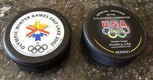 2- 2002 Olympic Winter Games Hockey Pucks Salt Lake City Utah USA