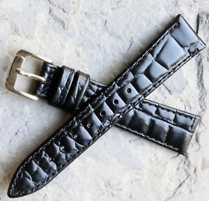 Short-highly-textured-crocodile-pattern-16mm-leather-vintage-watch-strap-1960s