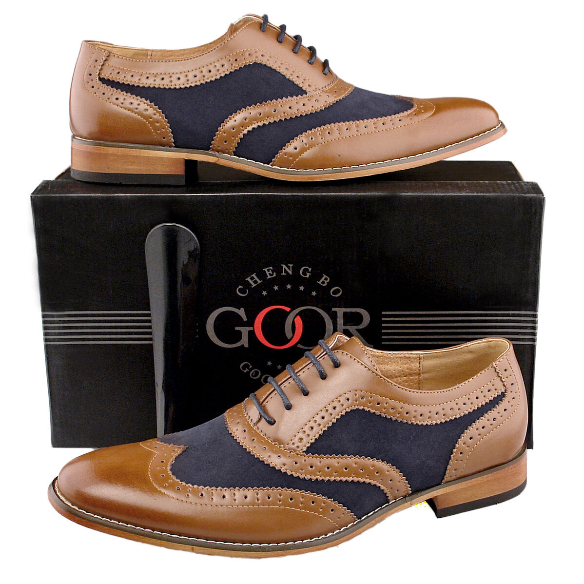 Mens New Formal Smart Suit Tan Navy Leather Lined Brogues shoes 6 7 8 9 0 11 12