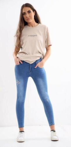 Womens High Waisted Ripped Skinny Stretch Jegging Ladies Corset Jeans Size 6-14