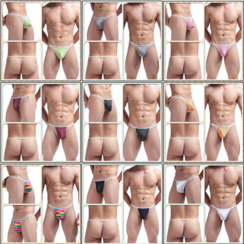 Mens T Back Pouch Thongs G String Briefs Underwears Bikini Underpants Lingerie
