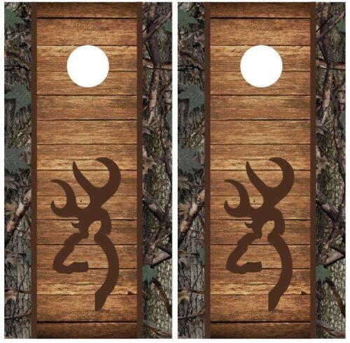 Browning Camo Wood Hunting Cornhole Board Decal Wrap Wraps