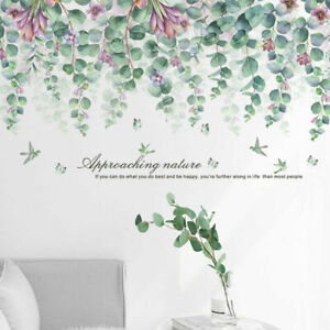 Green-Branch-With-Purple-Flowers-Wall-Art-Stickers-Leaves-Decal-Nursery-Decor