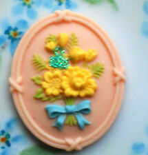 Whimsical Flower Cabochon Resin 41mm Shabby Floral Rose Flowers Bouquet #1152A