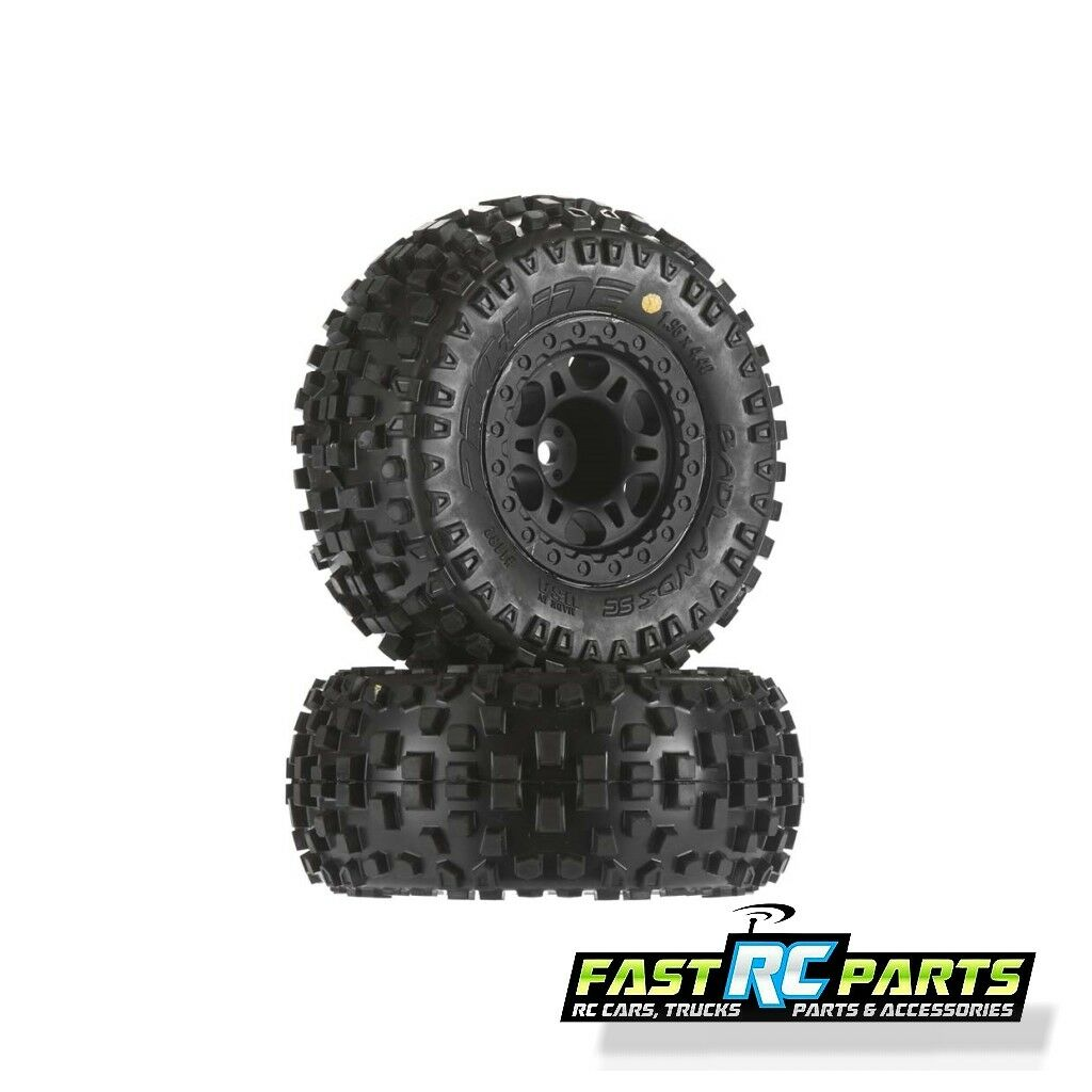 Pro-Line Badlands SC 2.2 inch  3.0 inch M2 Tires Mounted Front wheels PRO1182-21