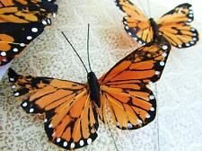 """12 Hand Made Poly 4"""" Big Monarch Butterfly Floral Arrangement Decoration H150-A"""