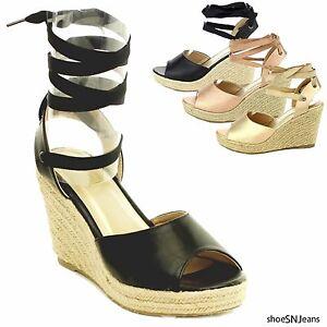 precio de fábrica 5cb48 91664 Detalles acerca de Nuevo Mujeres Sandalias Gladiador Con Cordones Cuña  Zapatos Taco Alto Plataforma Alpargata- mostrar título original