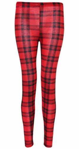 Womens Red Tartan Check Print Casual Full Length Trousers Ladies Girls Leggings