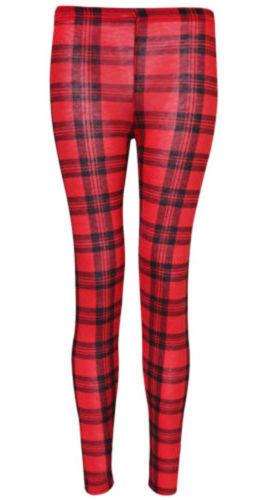 Womens Red Tartan Check Print Casual Full Length Trousers Ladies Girls Leggings