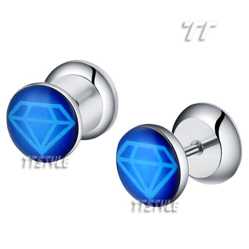 TT Clear Epoxy Blue Diamond Logo Surgical Steel Fake Ear Plug Earrings BP40