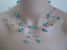 Collier original Bleu Turquoise/Chocolat  p robe de Mariée/Mariage/Soirée perle