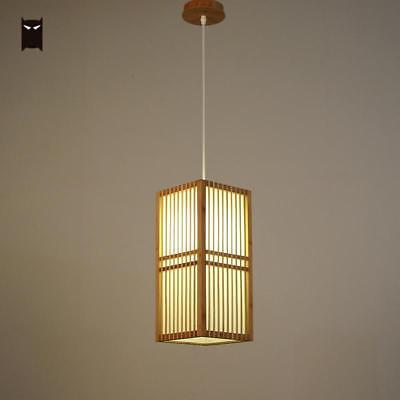 Bamboo Square Shade Pendant Light Fixture Japanese Hanging Ceiling Lamp Tatami Ebay