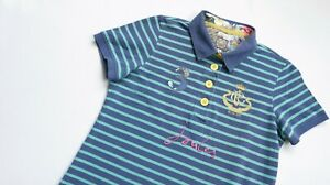 Joules-Polo-shirt-women-Short-Sleeve-top-size-UK-14-US-10-Classic-blue-STRIPED