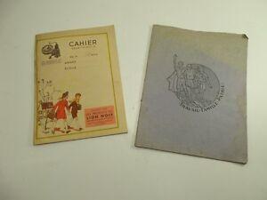 Lot-ecolier-deux-cahier-ancien-cirage-LION-NOIR-travail-famille-patrie