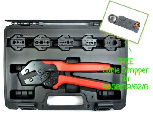 FREE STRIPPER Quick Change RF Coax Crimping Tool Kit RG8 RG58 RG174 RG213