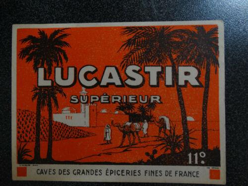 ancienne étiquette vin Lucastir chameau palmier oasis