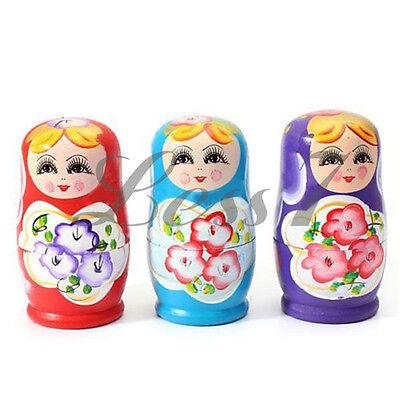 Hot Sale Set of 5pcs Matryoshka Russian Nesting Wooden Doll Girl Children's Toy