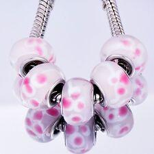 5Pcs GF Silver Pink Crystal MURANO GLASS BEADS Fit European DIY Bracelet D8231