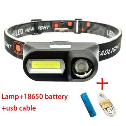 XPE COB LED headlamp USB rechargeable Headlight head light Torch Flashlight18650