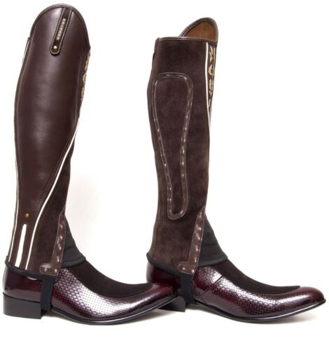 Extreme Leather Gaiters Brown with Beige Piping