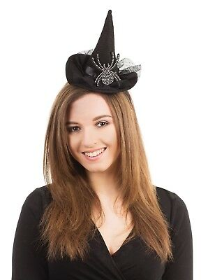 Einfach Mini Hexenhut Auf Stirnband Mit Spinne Halloween Kostüm Zubehör