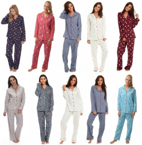 Ladies Winceyette Cotton Pyjamas 100/% Brushed Flannel Wincy Collar Buttoned Xmas