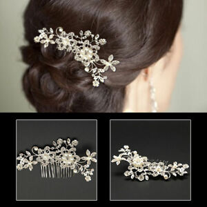 Flower-Wedding-Bridal-Hair-Accessories-Comb-Clips-Piece-Crystal-Pearls-Headpiece