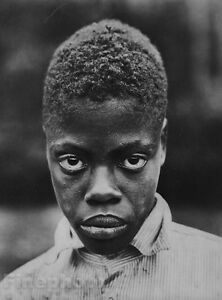 1935 Vintage Black Negro Boy Eyes Portrait Photo Art
