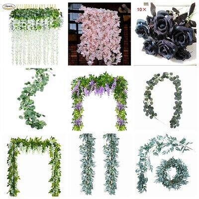 Lots Artificial Plants Flower Greenery Garland Vine Faux Silk Vines Leaf Wreath