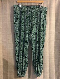 Eloquii-Navy-Blue-amp-Green-Elastic-Waist-Cropped-Pants-Size-18